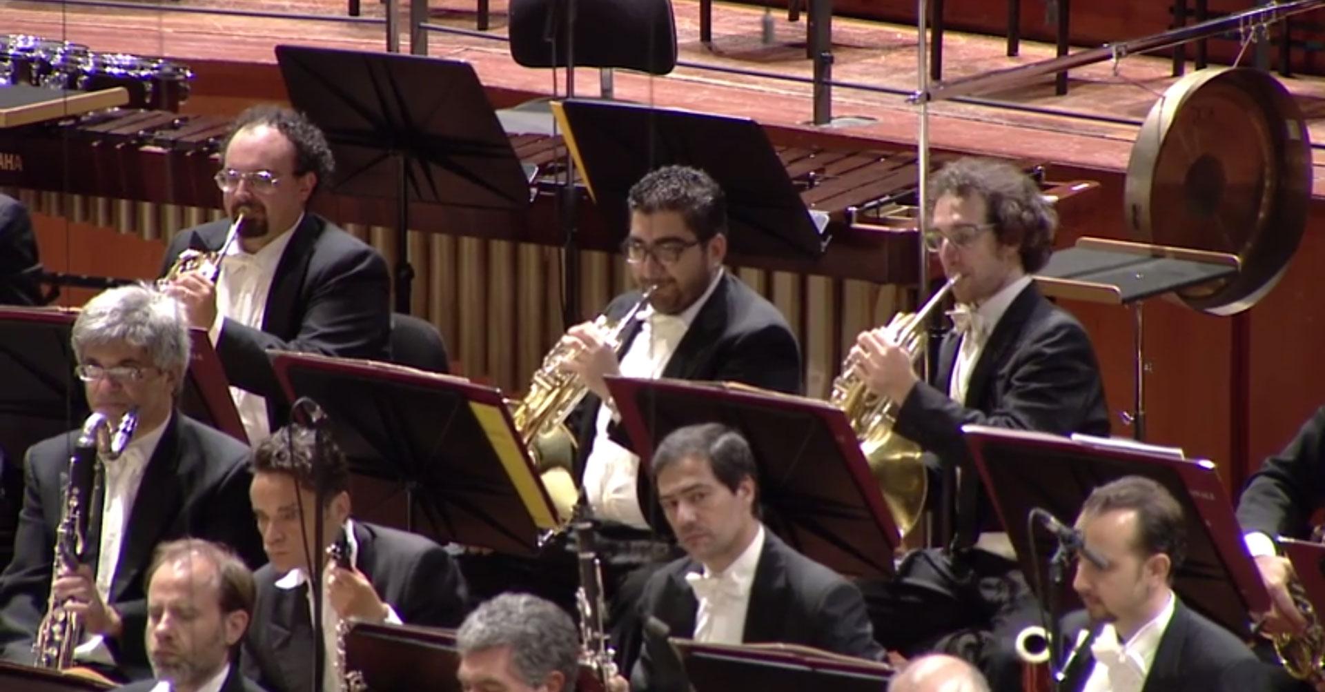 Angelo Bonaccorso al corno nell'Orchestra dell'Accademia Nazionale di Santa Cecilia