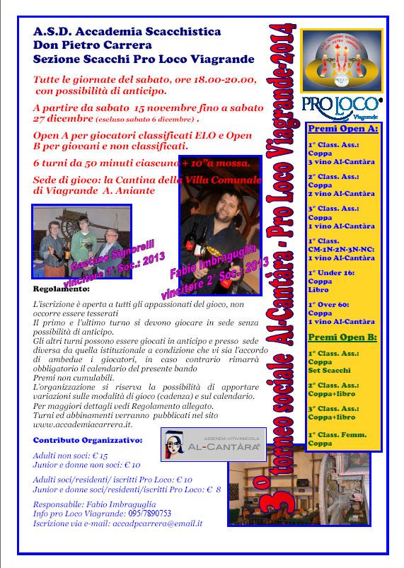 """Viagrande. Terzo torneo sociale di Scacchi """"Alcantara 2014"""""""