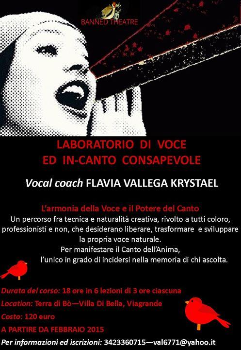 Viagrande: Laboratorio di VOCE ed IN-CANTO CONSAPEVOLE con la vocal coach FLAVIA VALLEGA KRYSTAEL