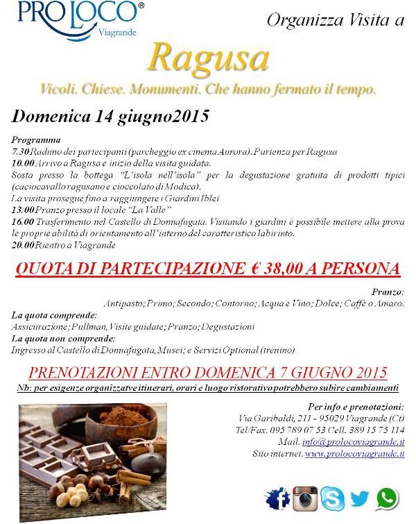 """La ProLoco ViaGrande organizza """"Visita a  Ragusa"""""""