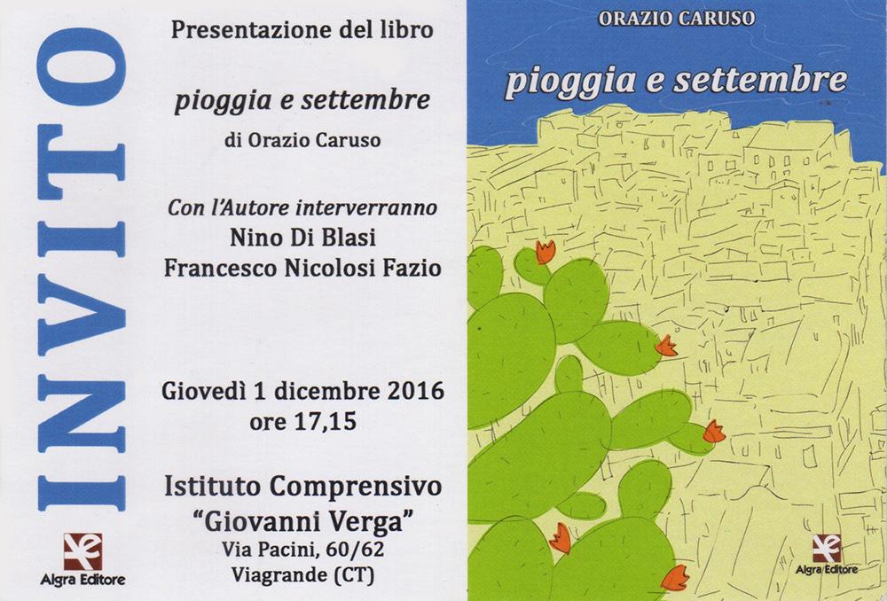 """Orazio Caruso presenta il suo nuovo romanzo """"Pioggia e Settembre"""""""
