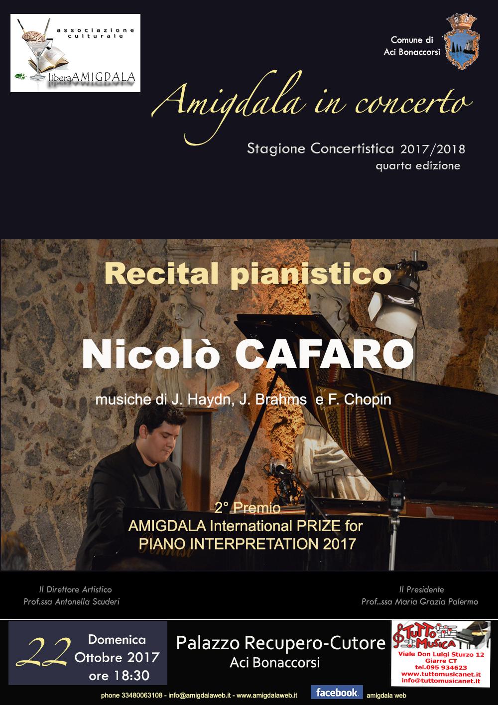 Ass. Amigdala. Recital pianistico di Nicolò Cafaro