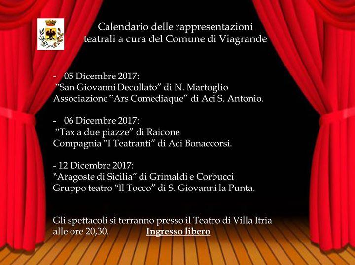 Calendario delle rappresentazioni teatrali a Viagrande