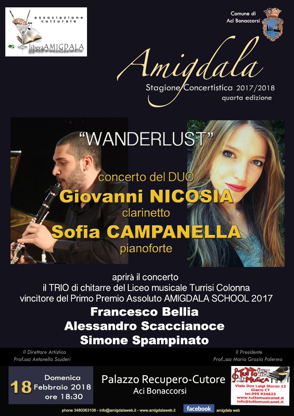Amigdala: concerto del Duo Nicosia - Campanella (clarinetto-pianoforte)