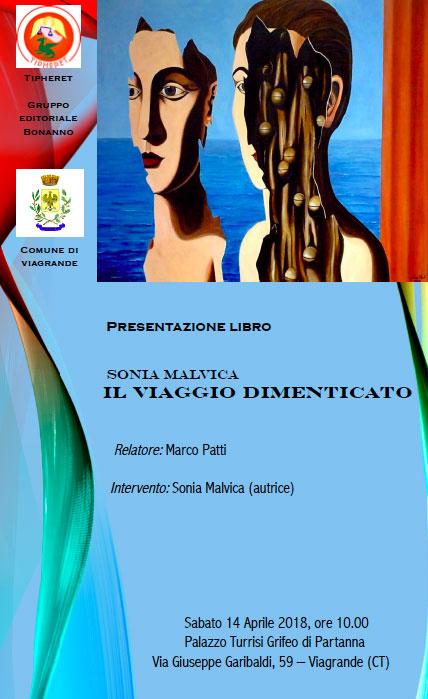 """Viagrande. Presentazione del libro """"Il viaggio dimenticato"""", di Sonia Malvica"""